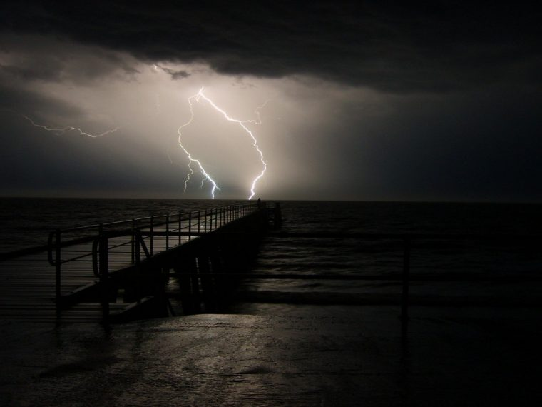 sea-pier-storm-cloud-sky-lightning