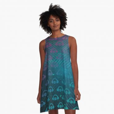 Geometric Space Flight A-Line Dress
