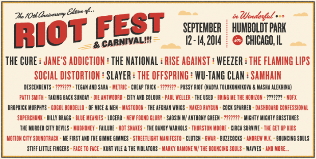 [FESTIVAL NEWS] Riot Fest Announces Stacked 2014 Lineup