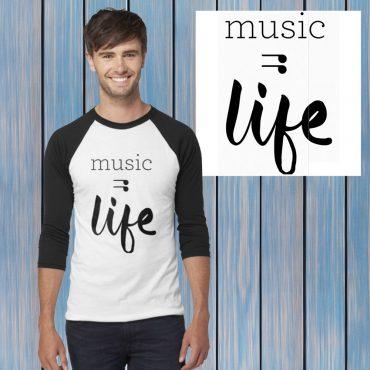 music is life graphic baseball tshirt